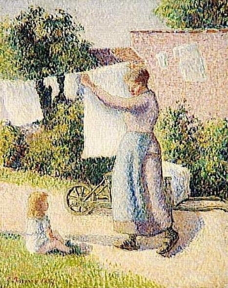 Camille Pissaro, Femme étendant du linge -1887