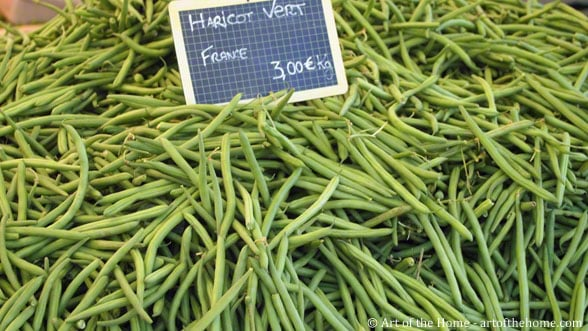 Farmers market pictures haricots verts from France