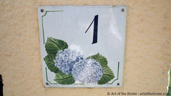 Decorative French house number plaques: Hydrangeas