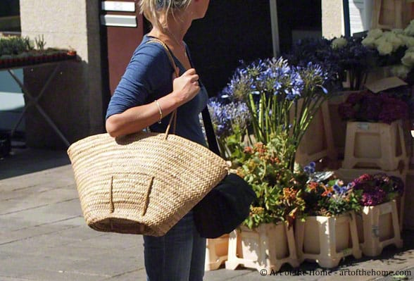 French market baskets at farmers market