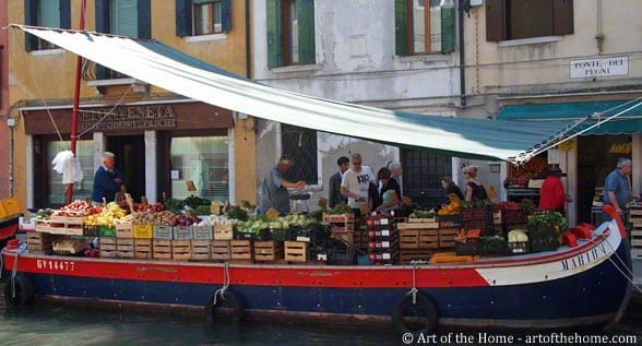 Venice farmers market on a gondola