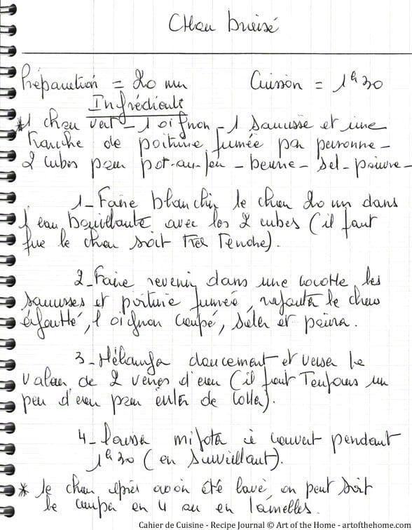 Recipe journal Braised Cabbage