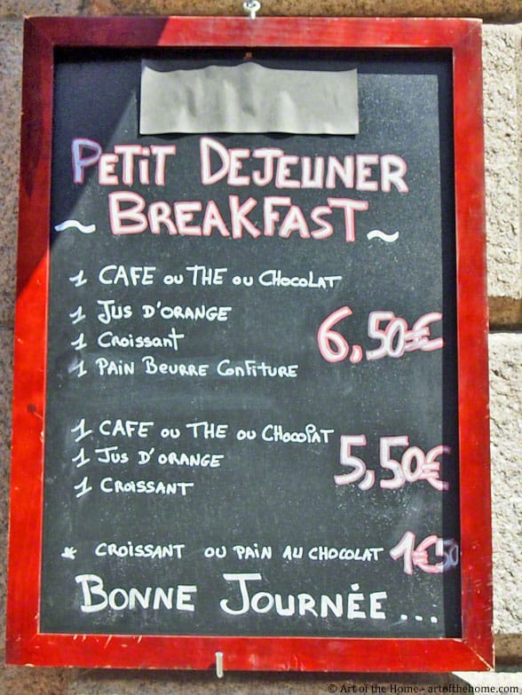 French breakfast menu sample