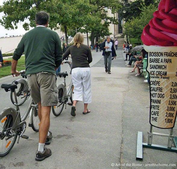Velib' bikes Paris near Eiffel Tower