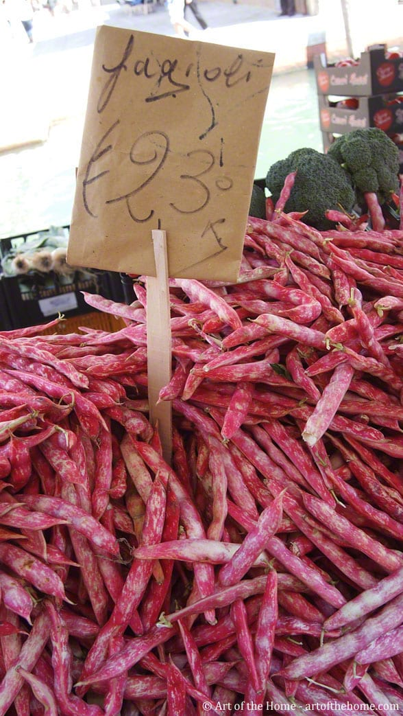 """Fagioli"" (beans) at Venice farmers market on gondola"