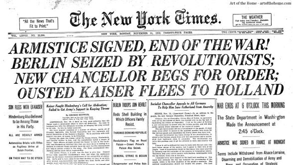 Armistice Day Front Page New York Times 11/11/1918