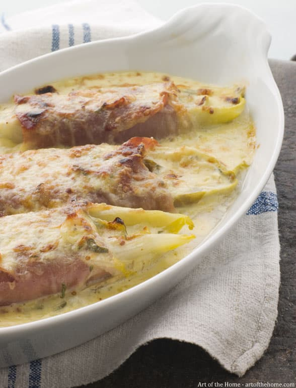 Endives gratin with ham